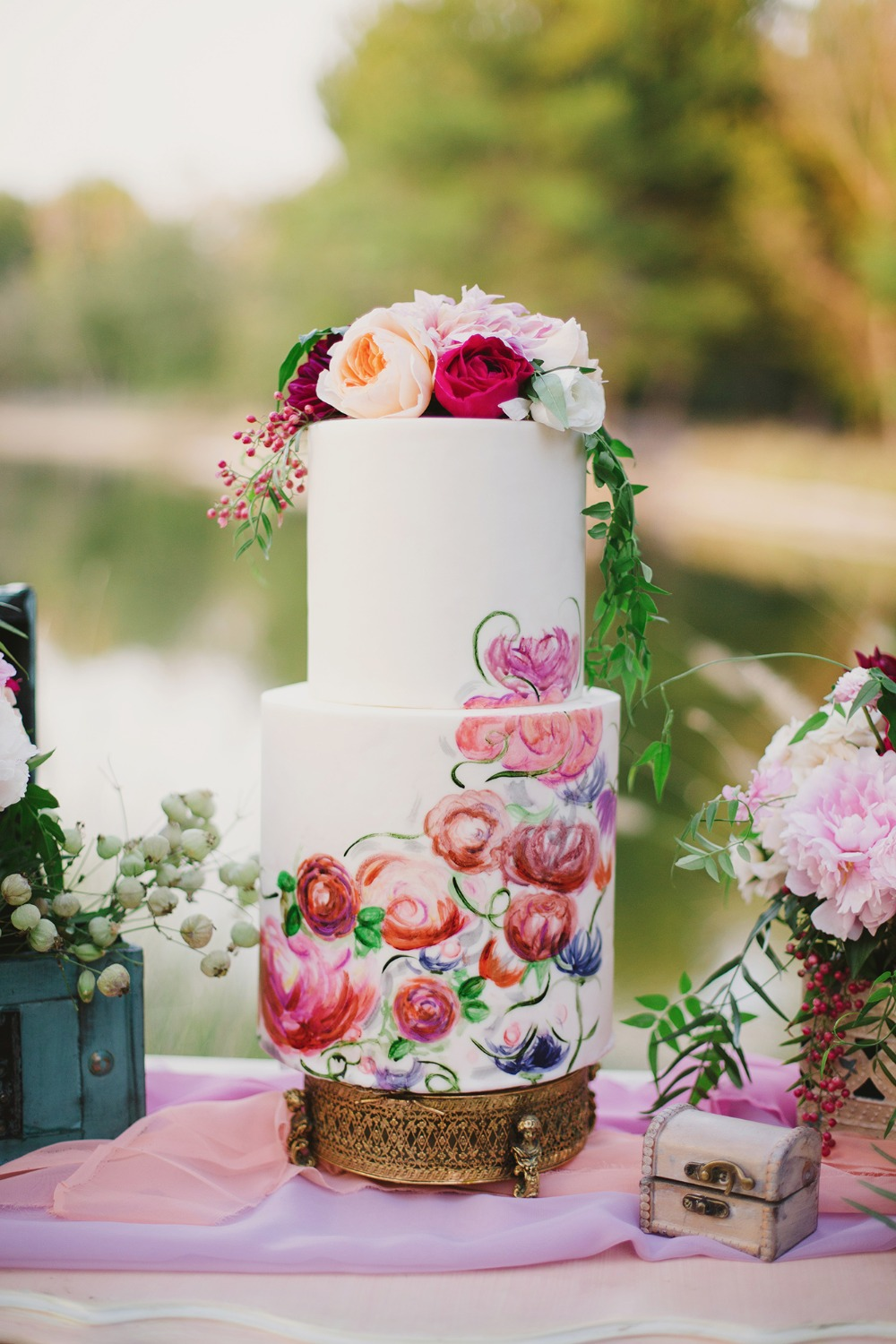 Gorgeous hand painted floral cake