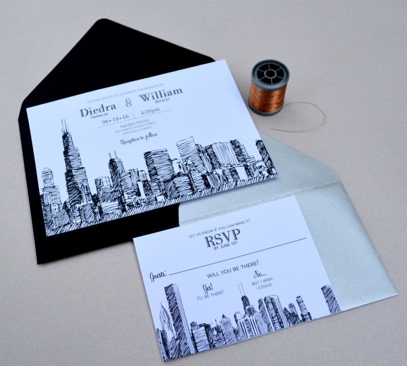 Our Chicago Skyline Wedding Invitation Suite in black and white, by Lucky Invitations.