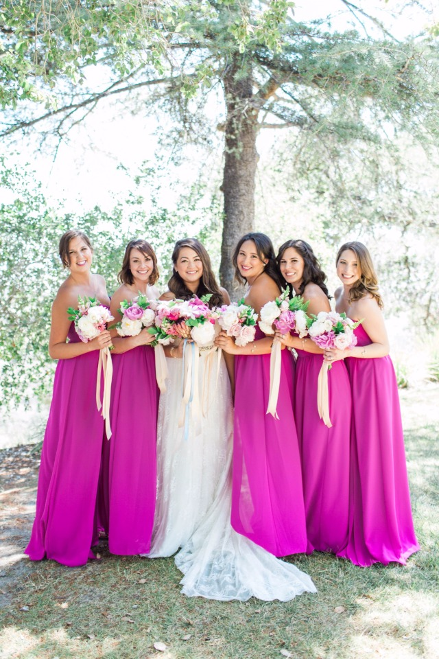 floor length pink bridesmaids