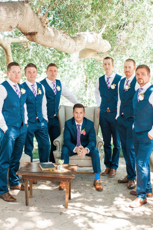 groomsmen in blue and white