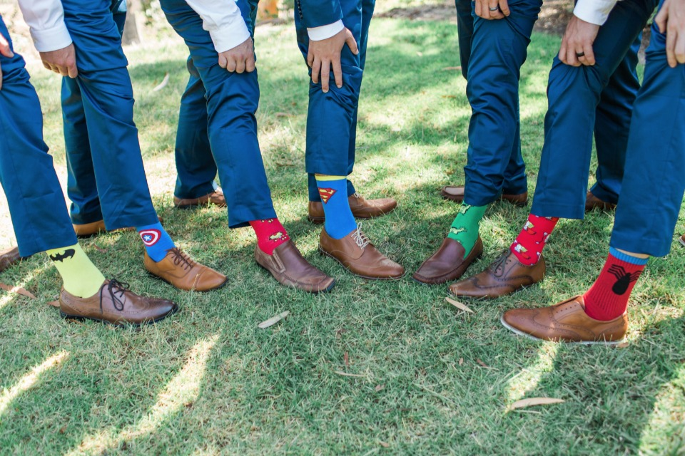 superhero groomsmen socks