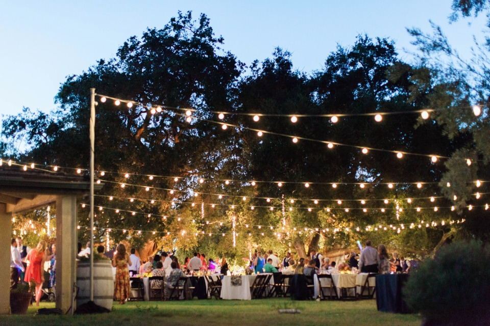 romantic bistro lights for your reception