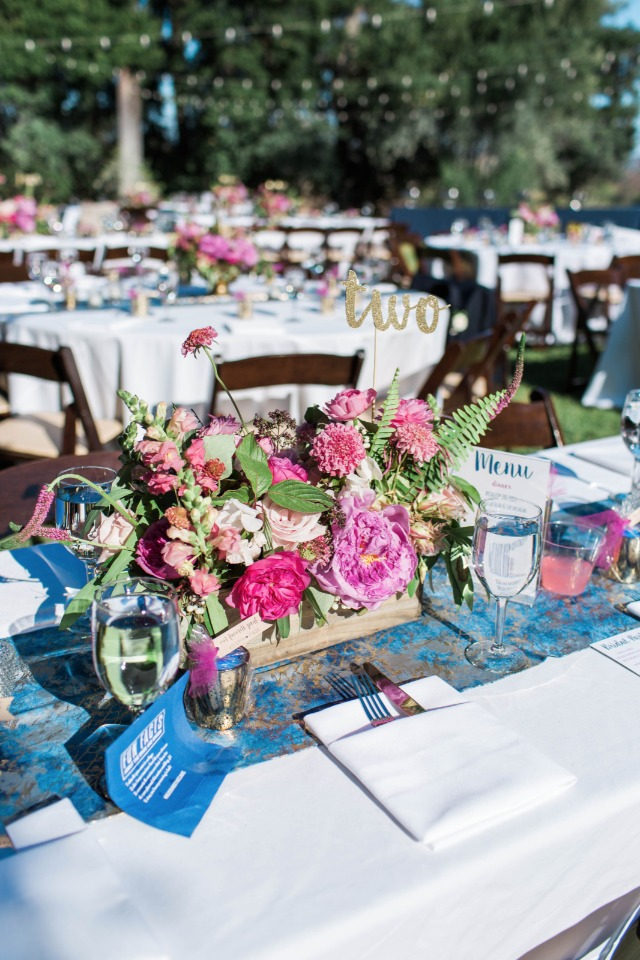 whimsical pink wedding centerpiece