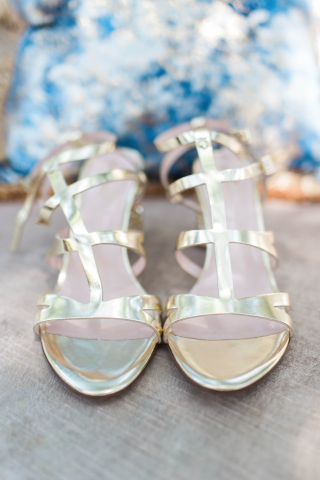 gold strappy wedding heels