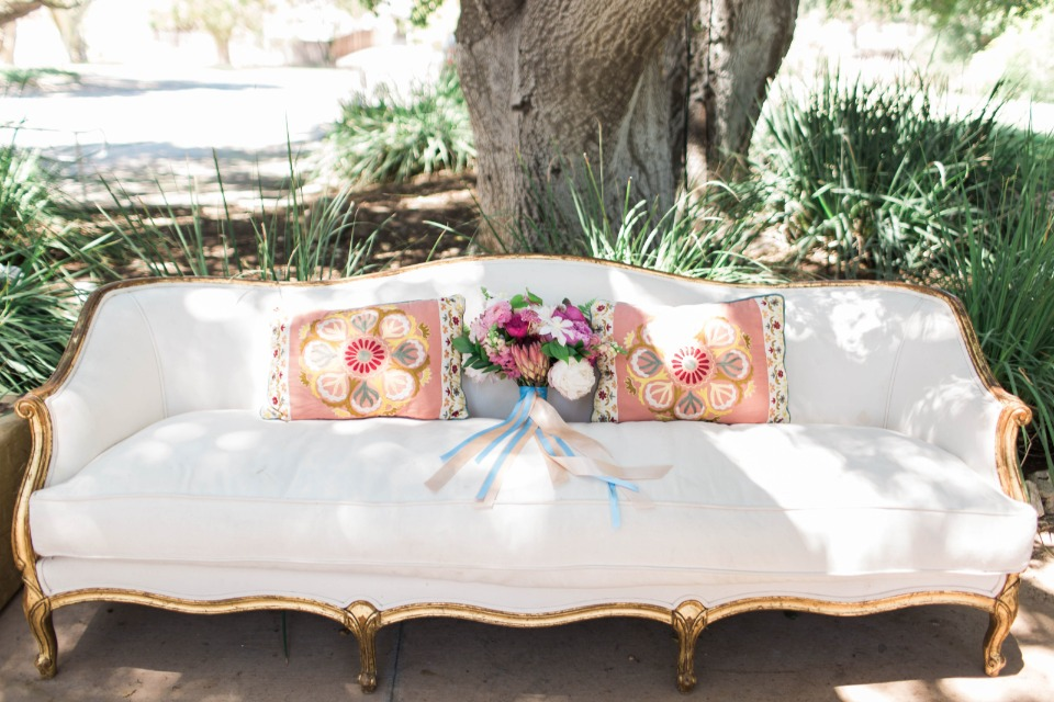 gold and white wedding lounge furniture