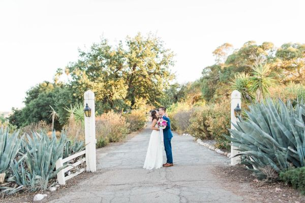 Navy and Pink Modern Garden Wedding