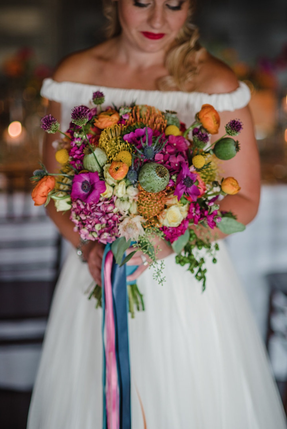 Colorful and textured bouquet