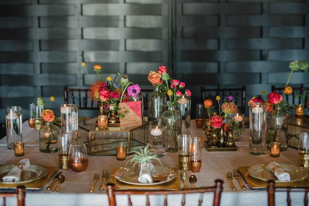 Colorful and romantic tablescape