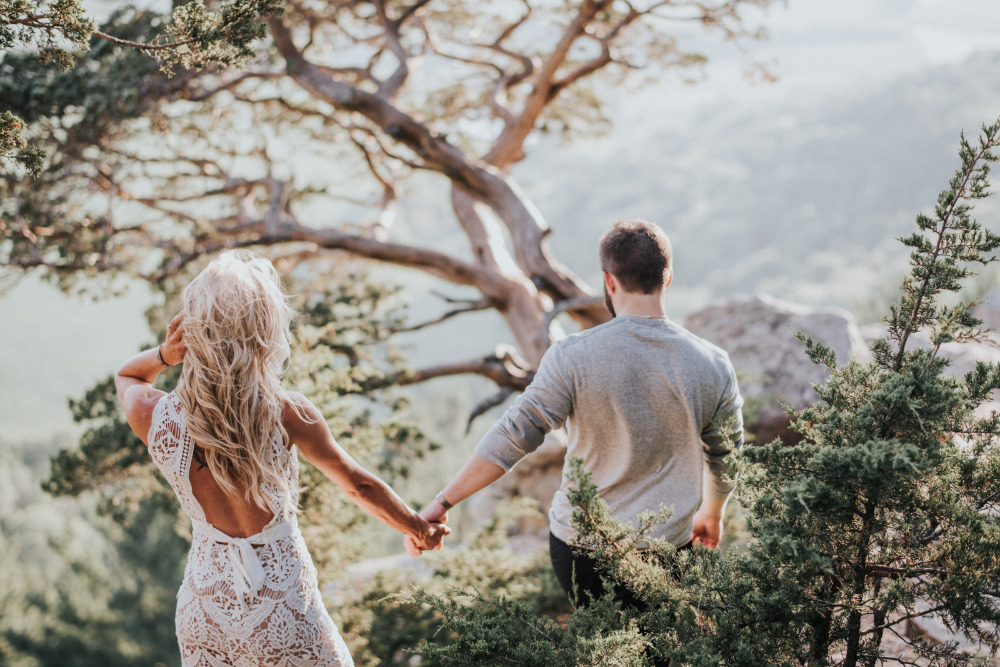 white lace engagement photography outfit