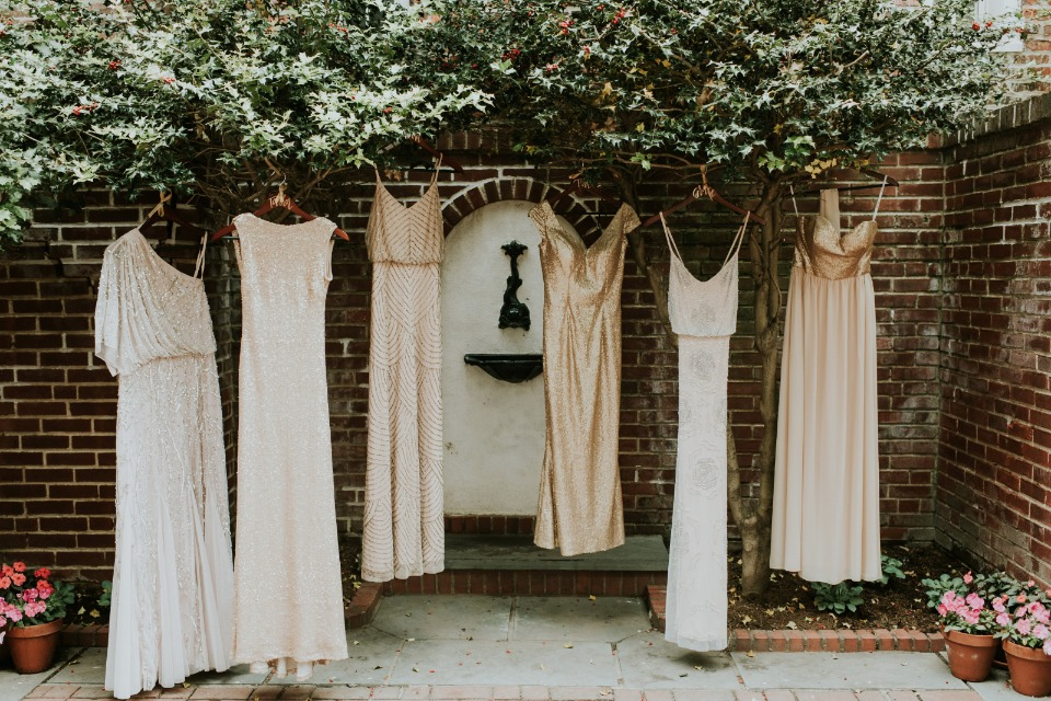mismatched bridesmaid dresses in gold