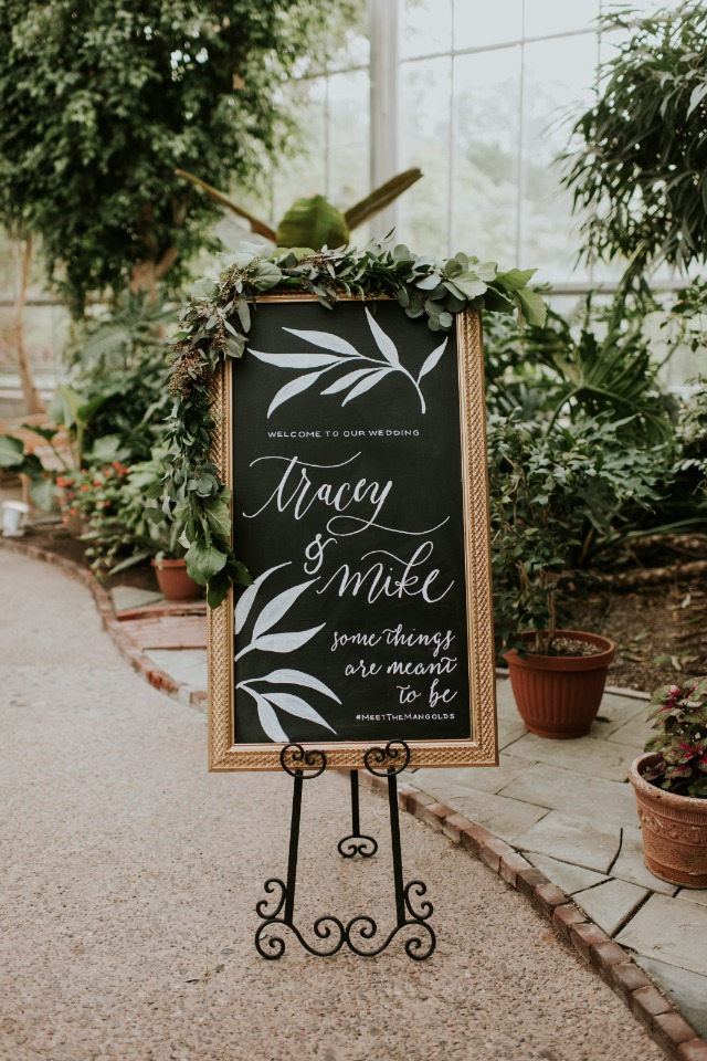 organic inspired wedding welcome sign