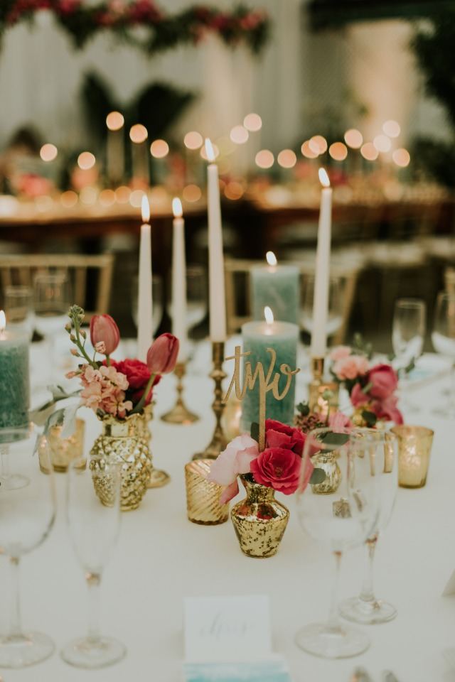 mismatched chic gold pink and teal table decor