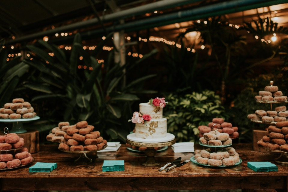 wedding cake and donut bar