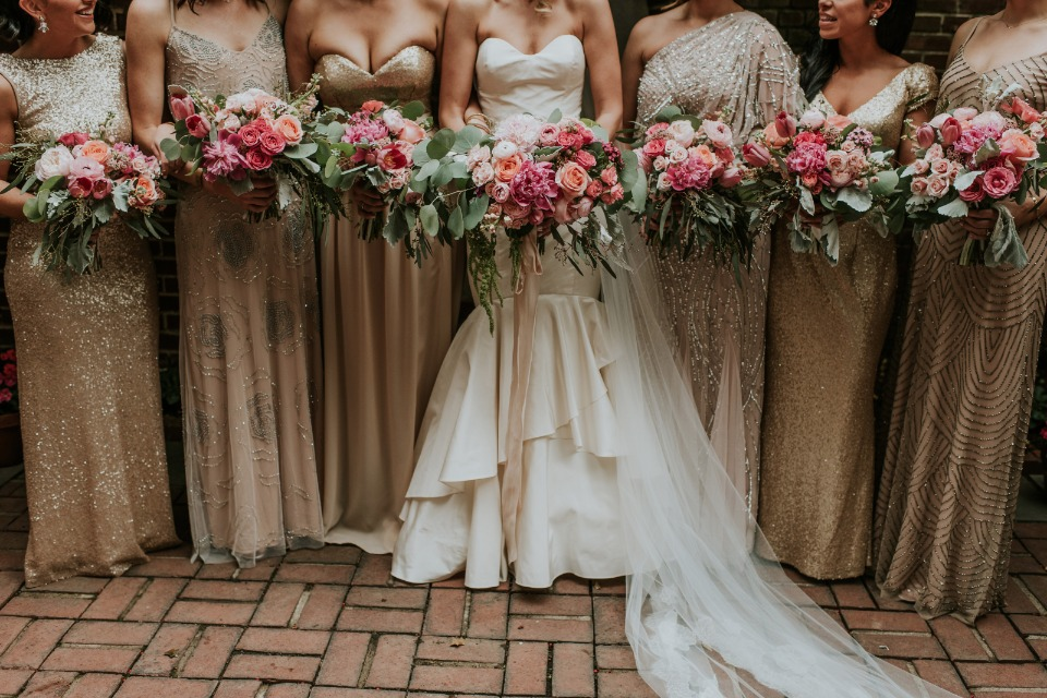 bridesmaid in gold floor length dresses
