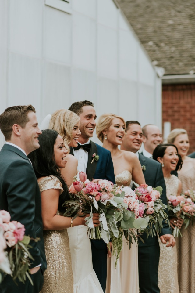 wedding party in gold and grey