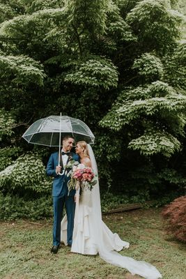 Whimsical Rainy Day Wedding In Pink Gold and Teal
