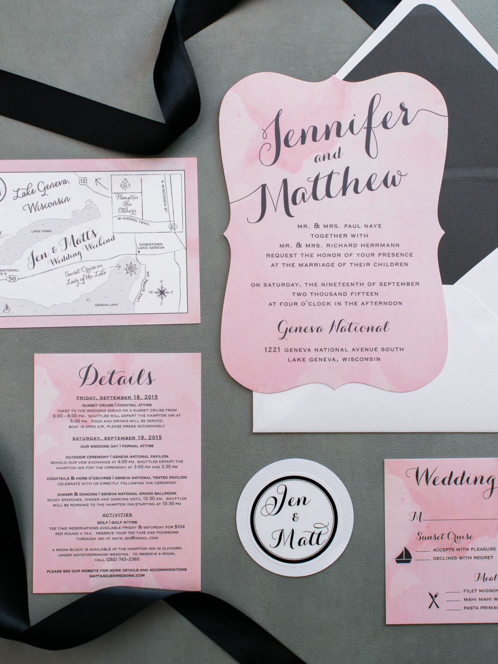 pink watercolor wedding stationery suite
