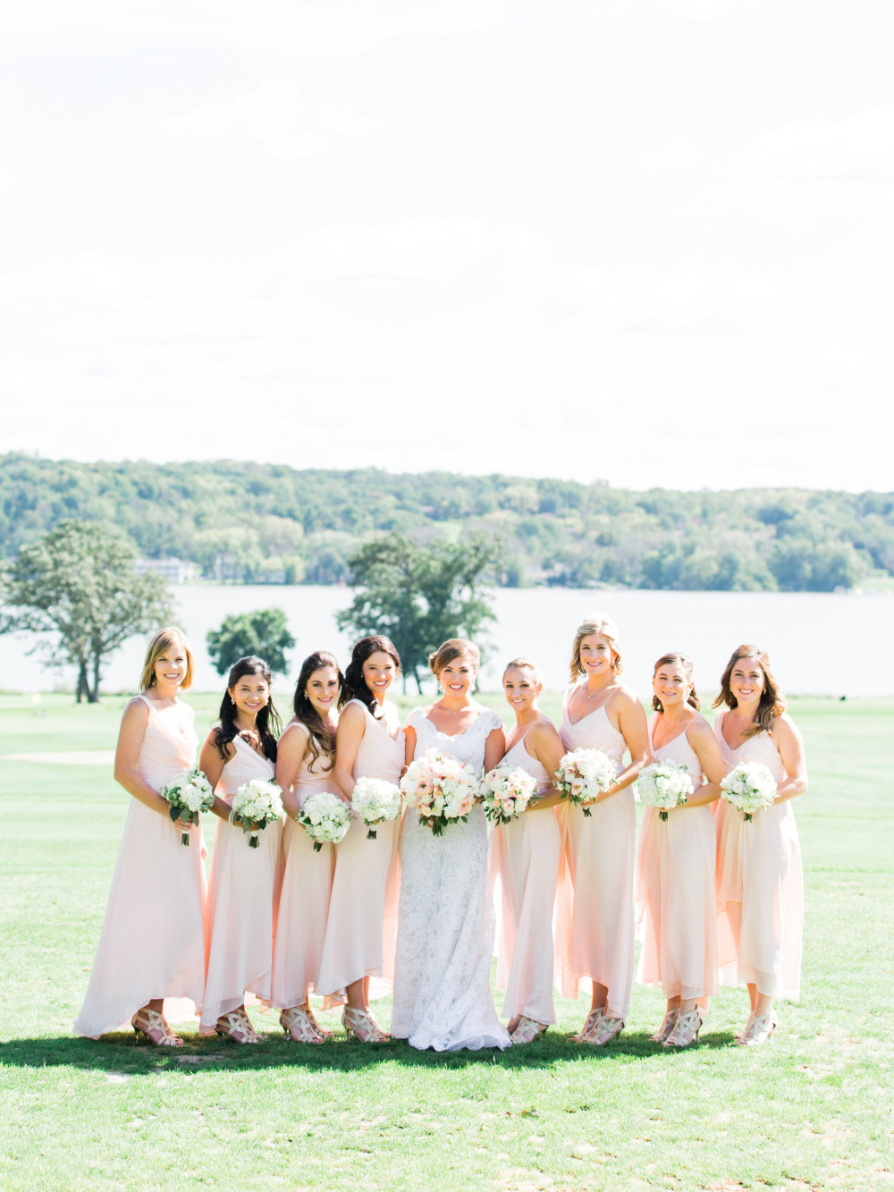 long pink flowing bridesmaid dresses