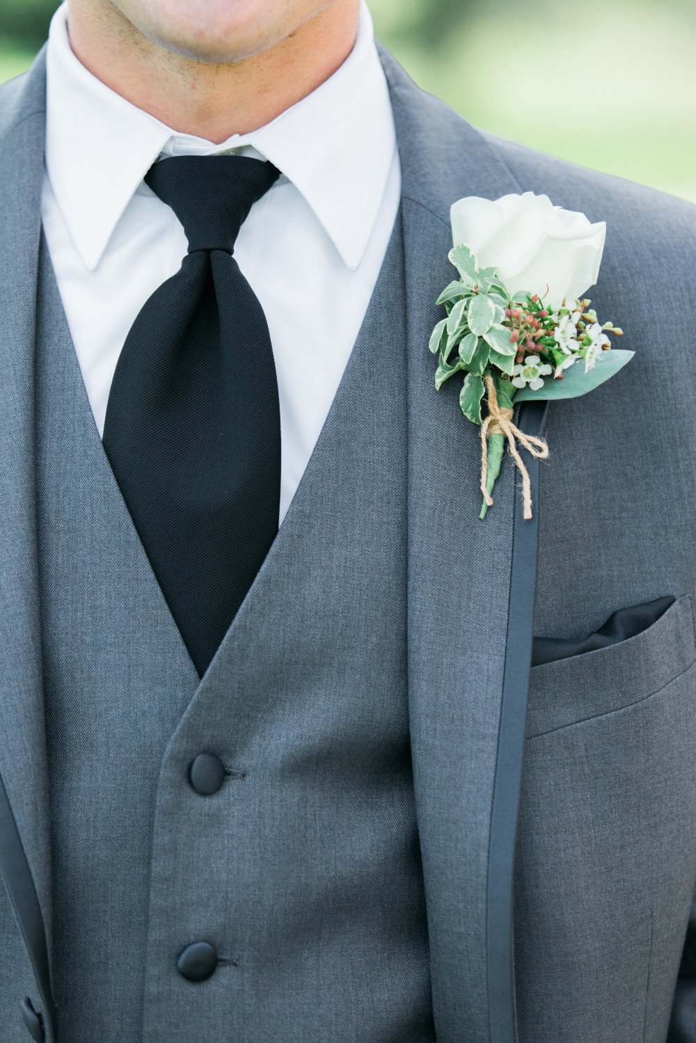 grey black and white groomsmen attire