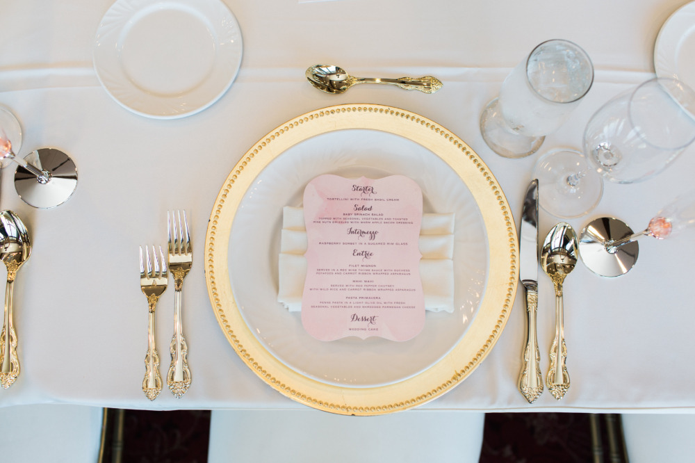 pink watercolor wedding menu