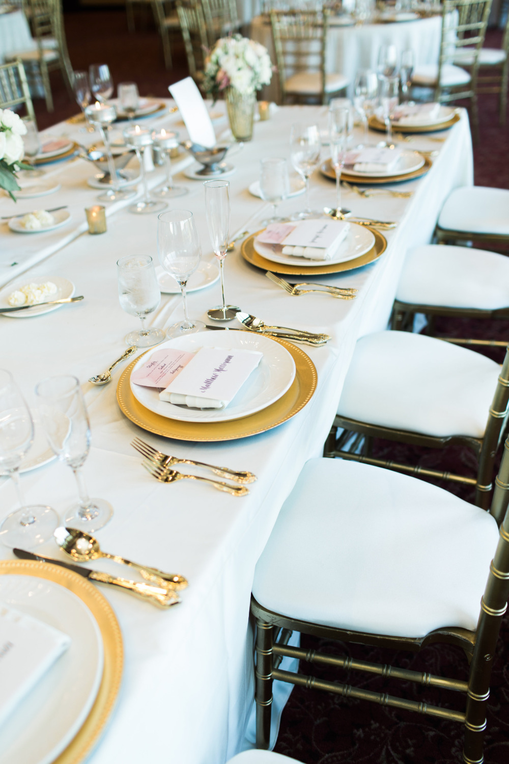 gold and pink wedding reception table settings