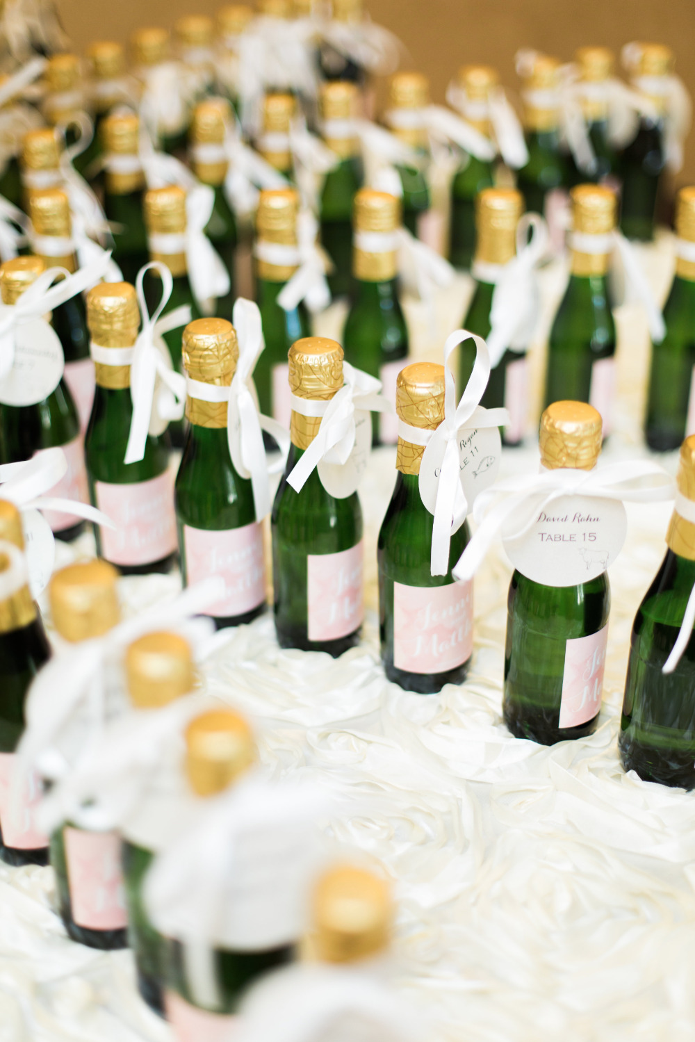 mini champagne escort cards