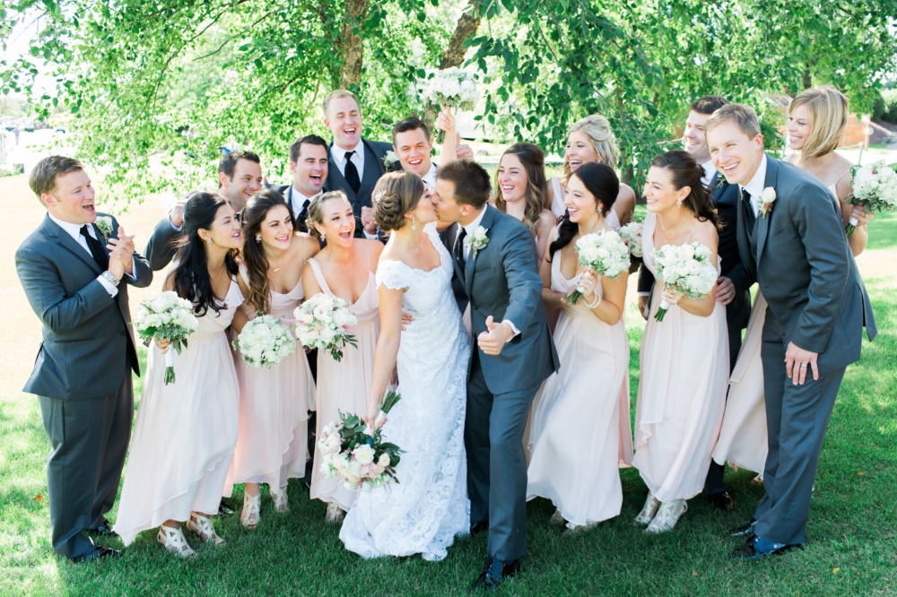pink and gray wedding party fashion