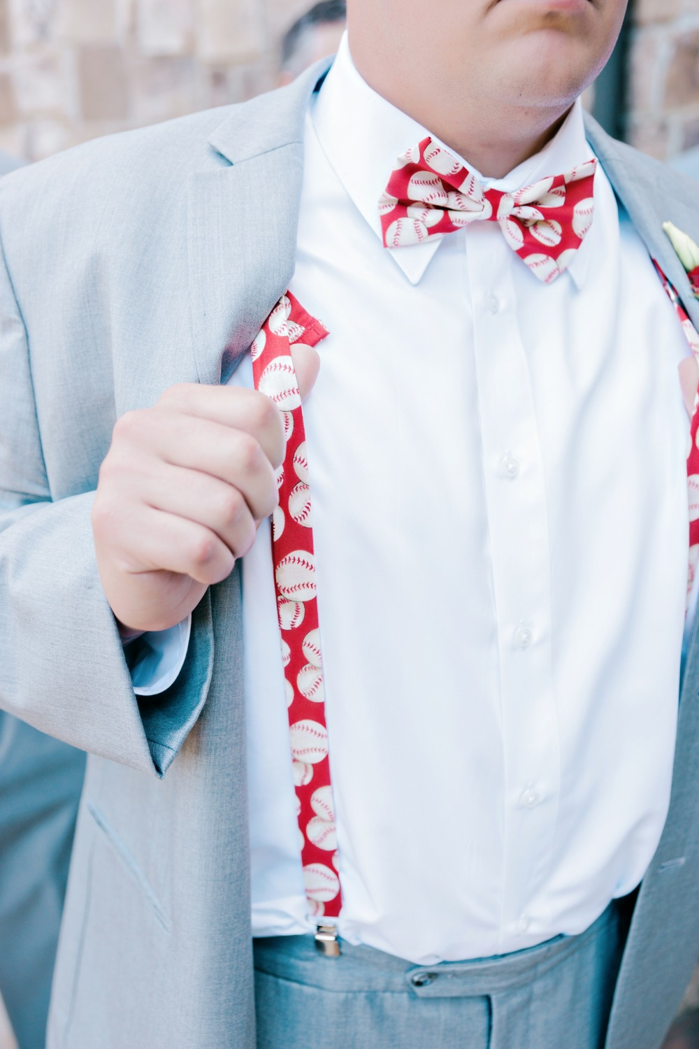 Baseball suspenders and bowtie