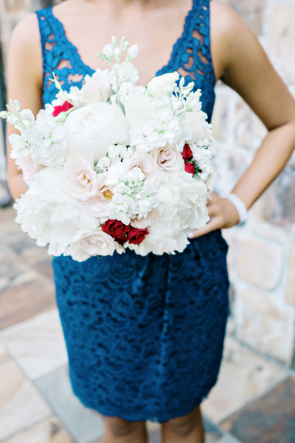 Blush, cream and red bouquet