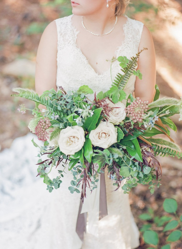 loose and wildflower style wedding bouquet