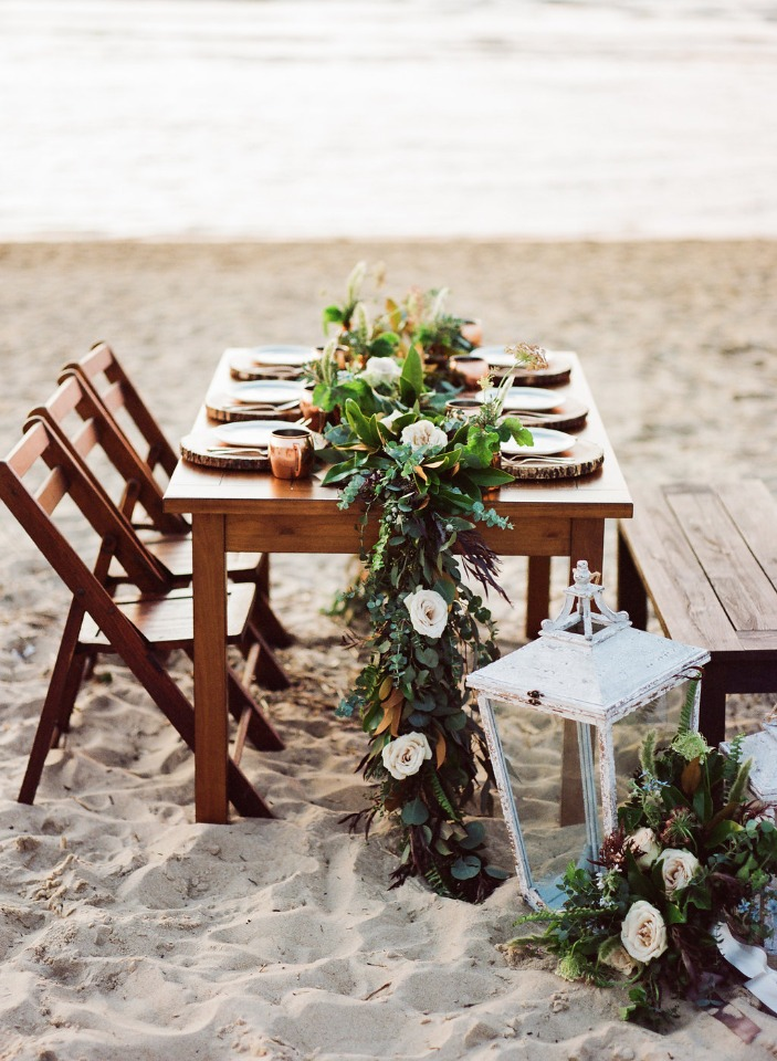 rustic beach wedding table decor