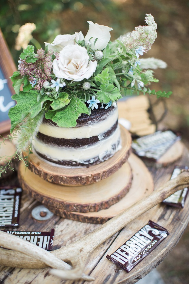 chocolate naked cake with a gorgeous flower topper