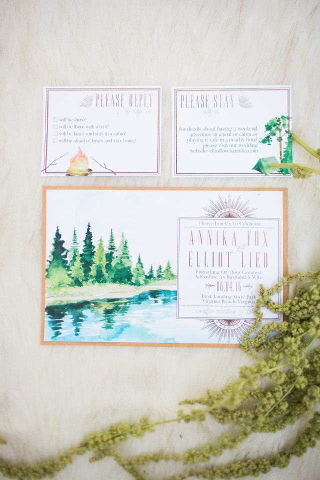 rustic watercolor wedding invitations