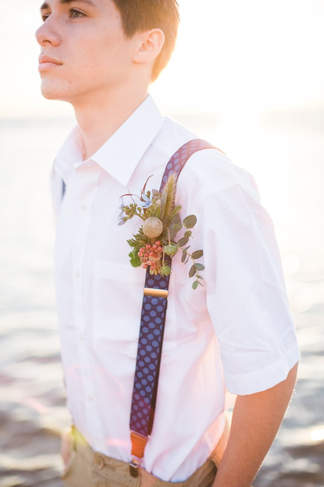 casual groom look suspenders and khakis