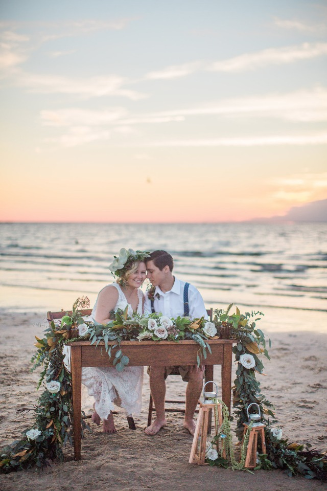 rustic vintage wedding reception on the beach