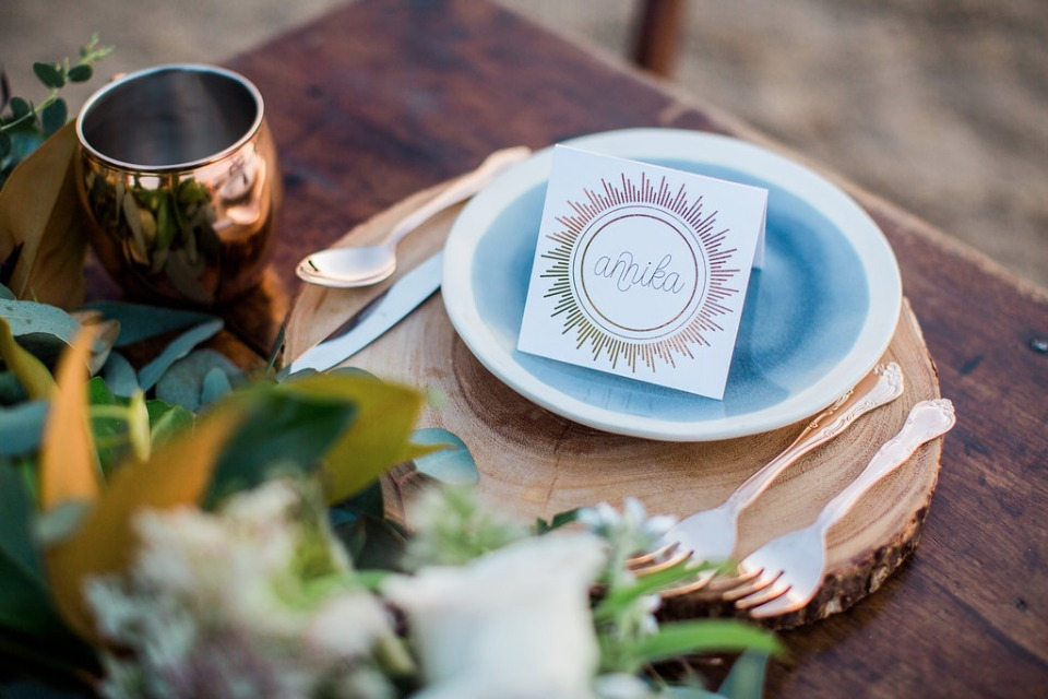 copper foil place card