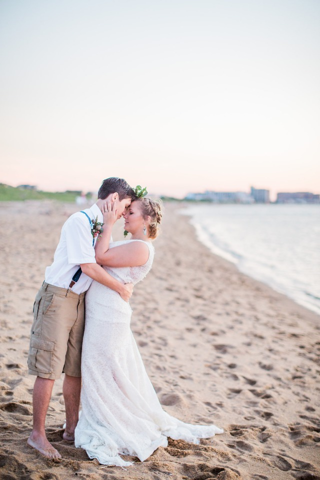 cute beach bride and groom photo