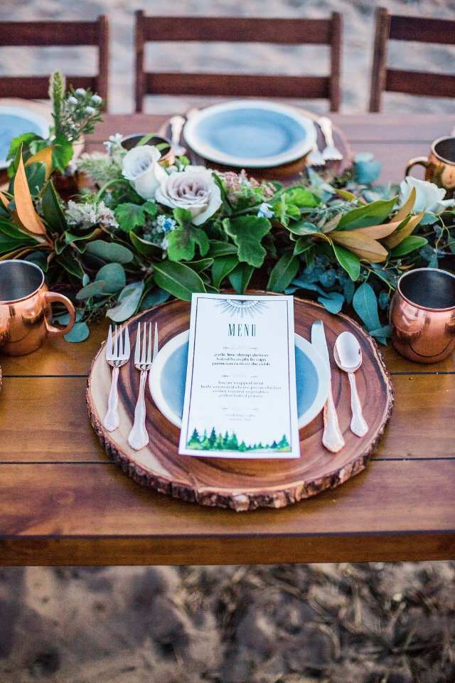 rustic green white and copper table decor