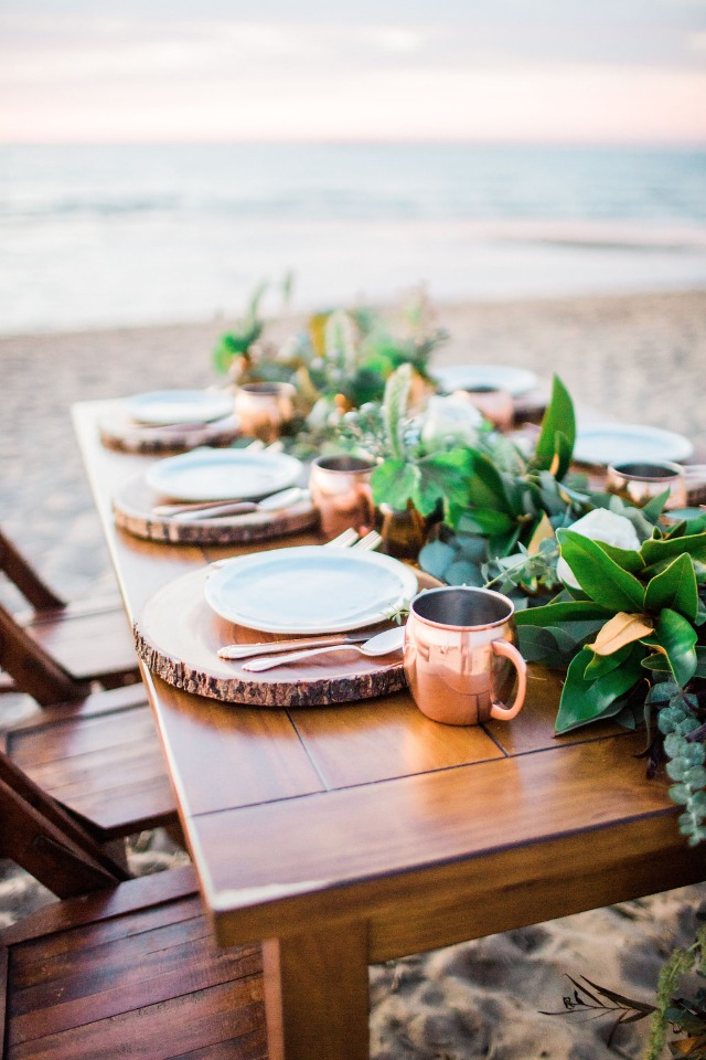 rustic copper and greenery table scape