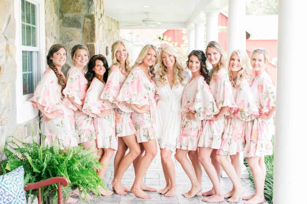 Bridesmaids in getting ready robes