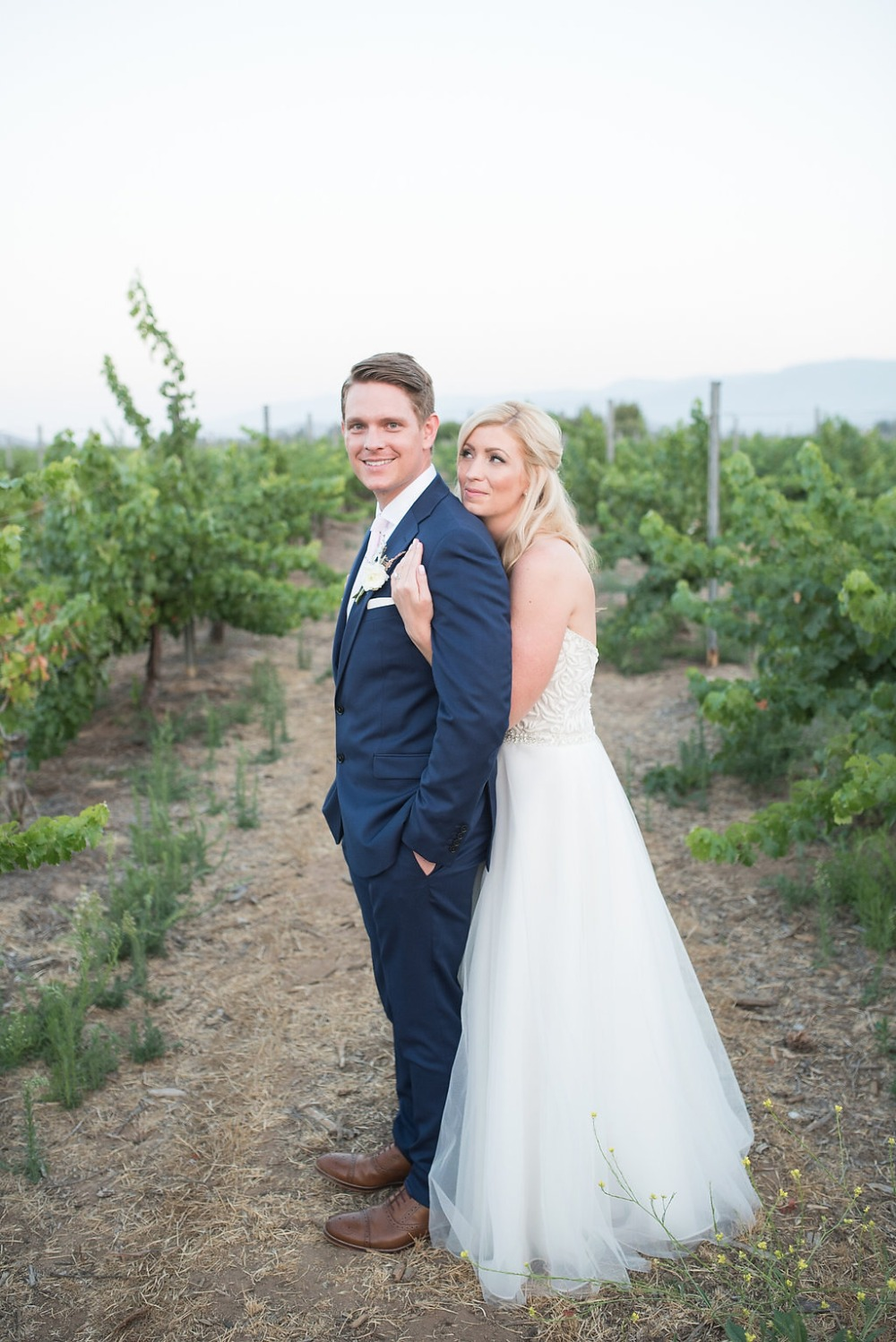 bride and groom on their wedding day at Ponte Winery