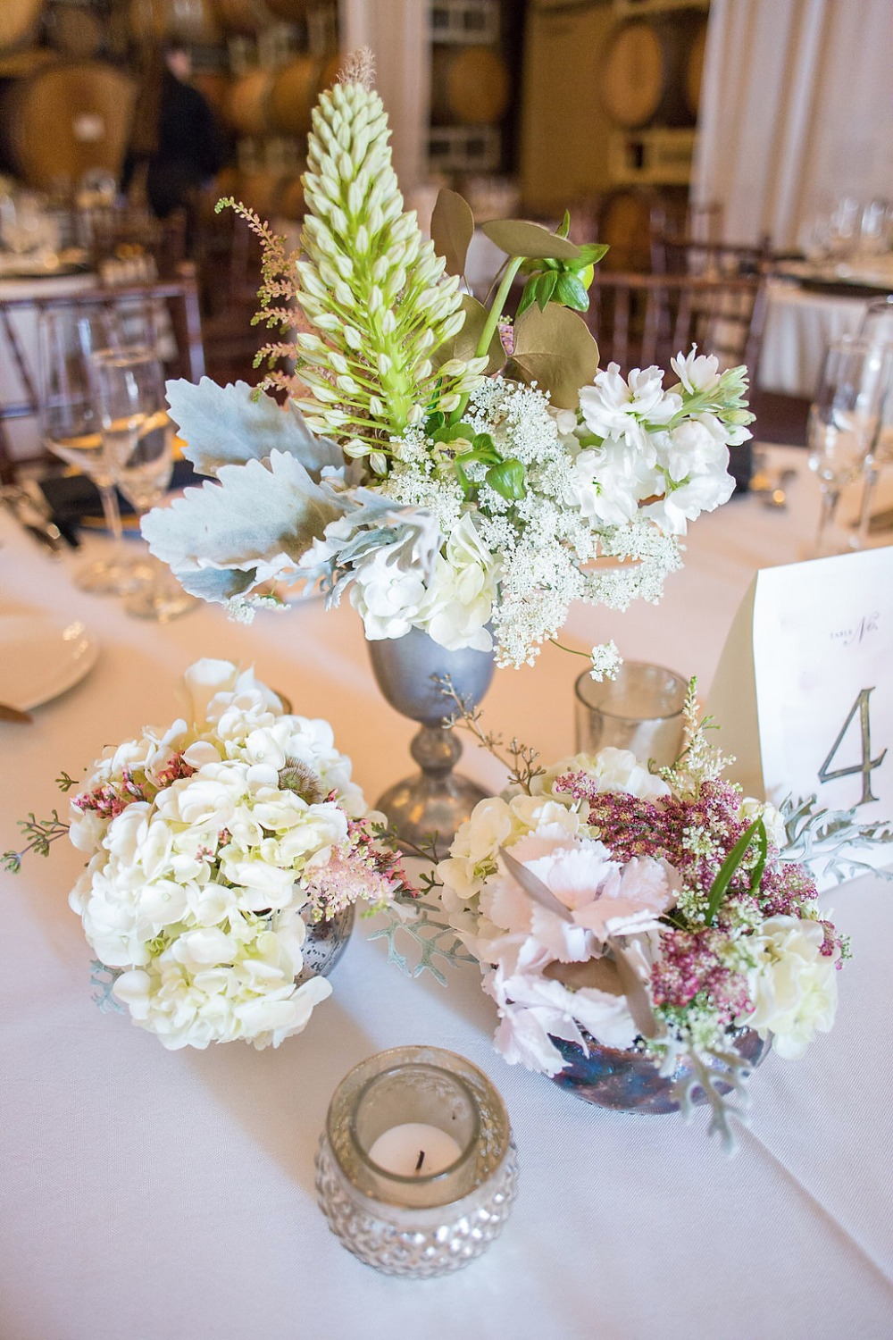 rustic and romantic centerpiece and table number