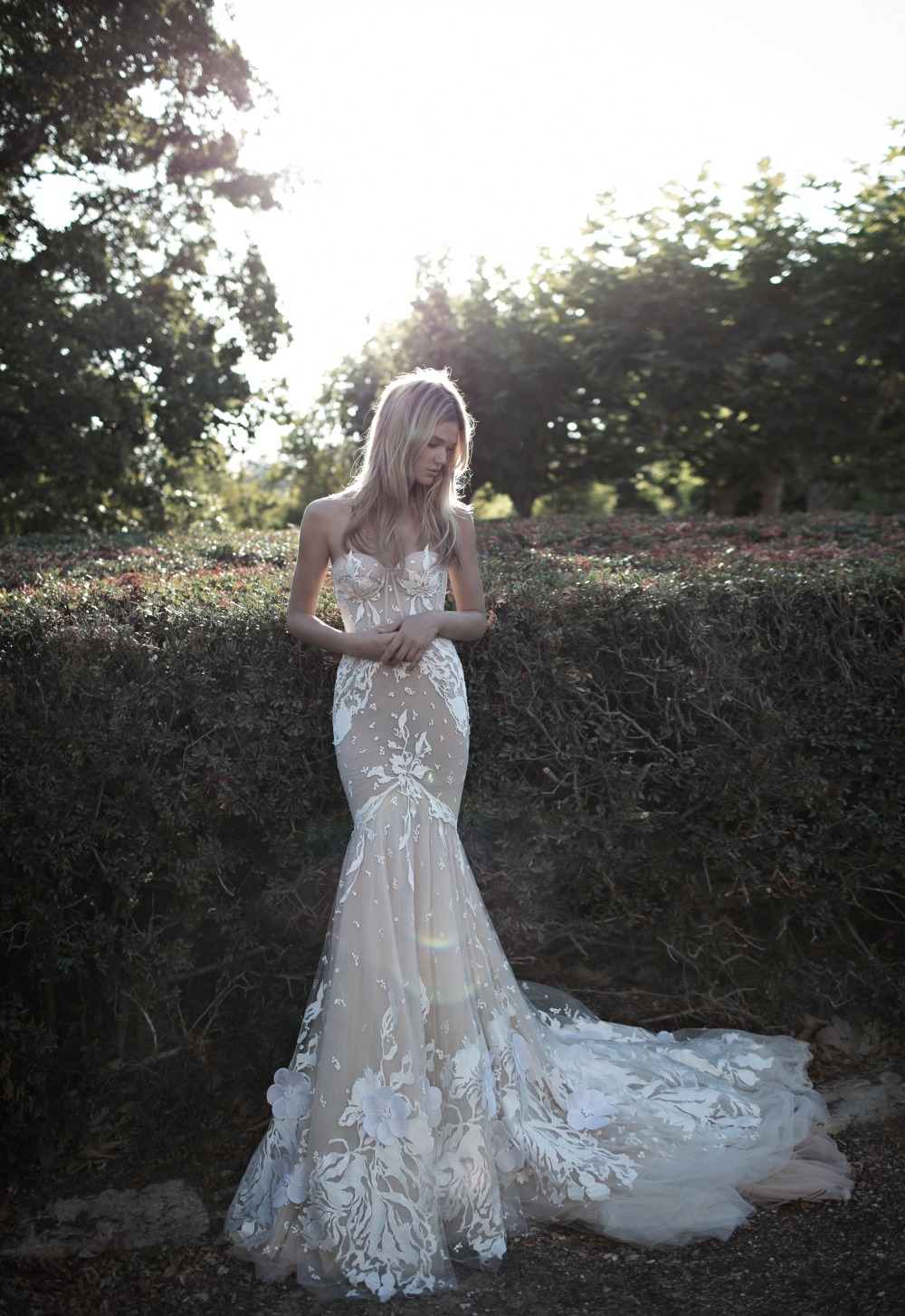 nude illusion and romantic wedding gown