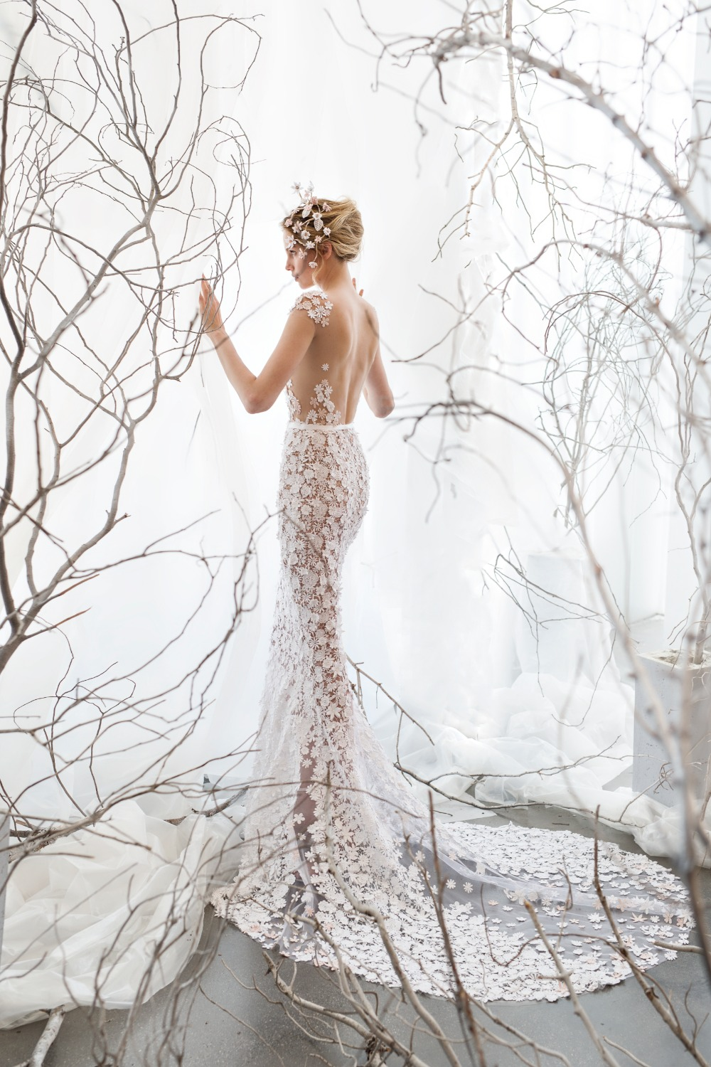 ethereal floral wedding dress by Mira Zwillinger
