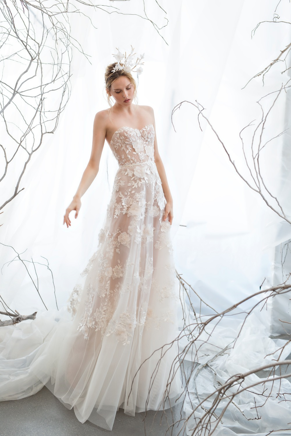 romantic wedding gown by Mira Zwillinger