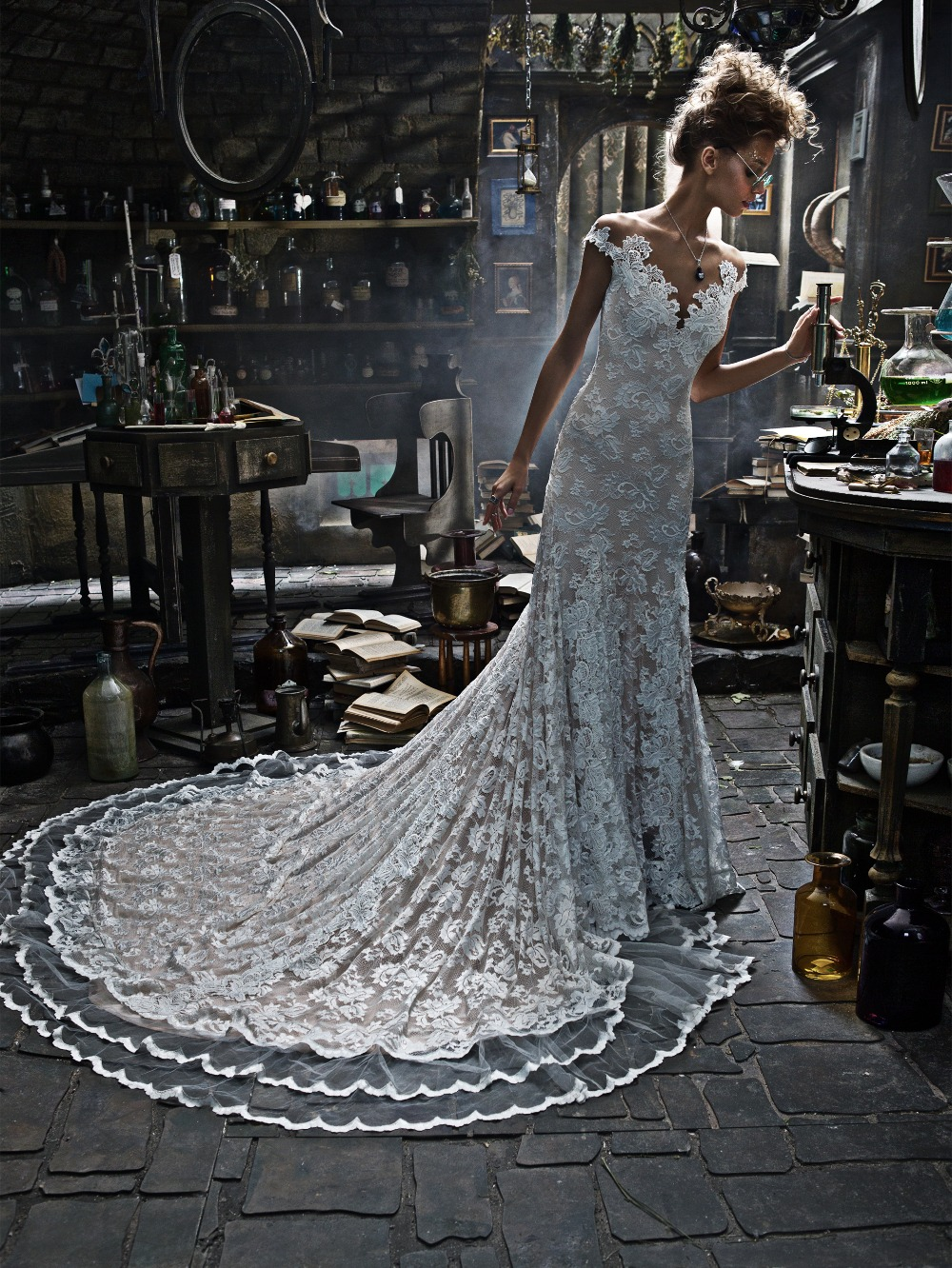 off the shoulder lace overlay wedding gown