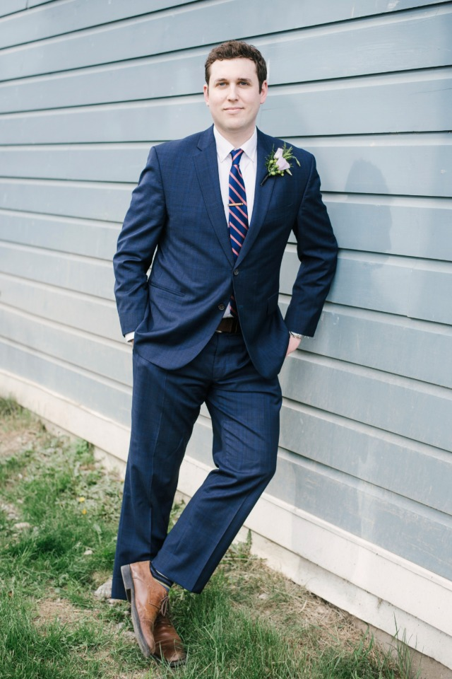 navy groom suit with striped tie