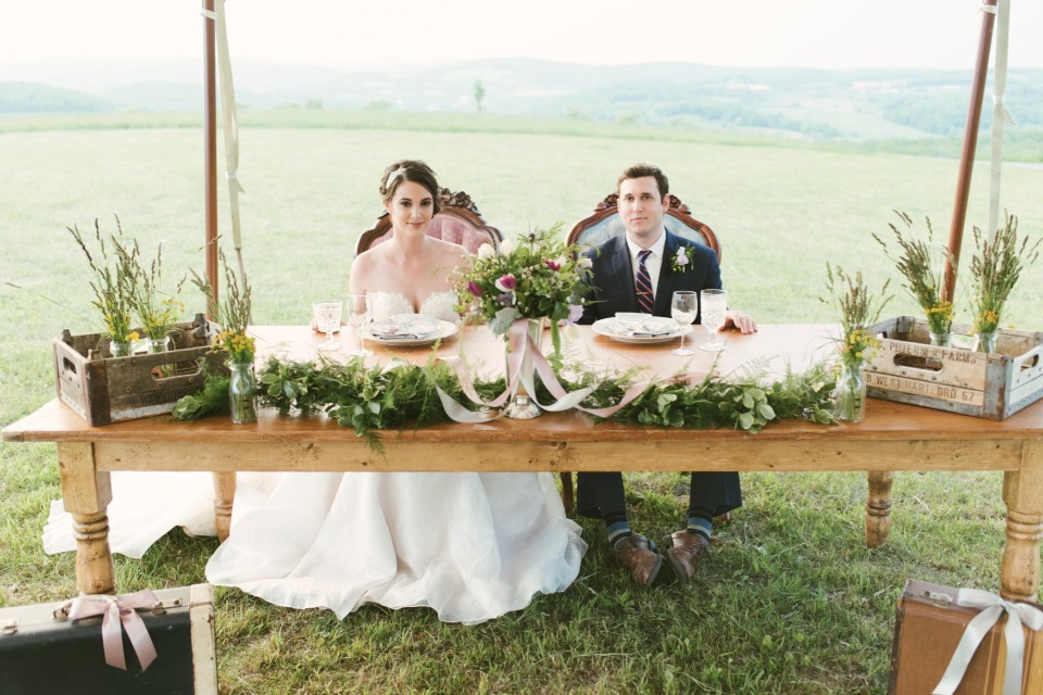garden fresh styled sweetheart table