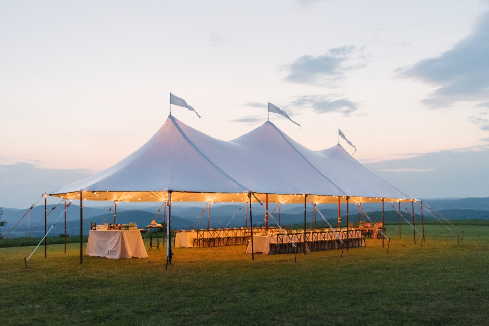 glowing wedding reception tent