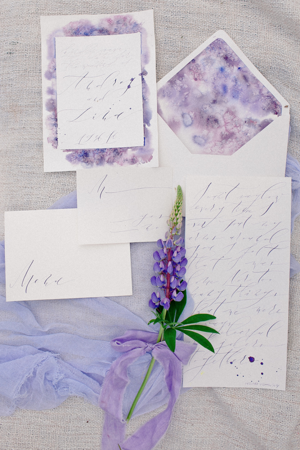 lupine inspired purple watercolor wedding invites